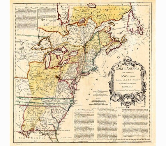 Colonies Map Vintage US Map Canvas Map Old Wall Art - Map of the us colonies
