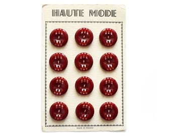 """1960 Authentic """"Haute Mode"""" Black Cherry Buttons on Card"""