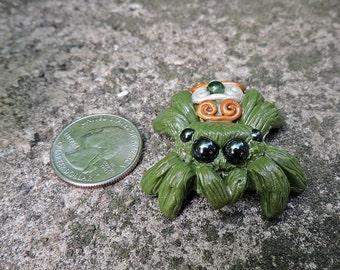 OOAK green Ornamented Jumping Spider Figurine