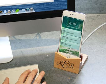 Personalized Bamboo Phone Dock   Charging Dock   Iphone   Android   Gift Ideas   For Her   For Him