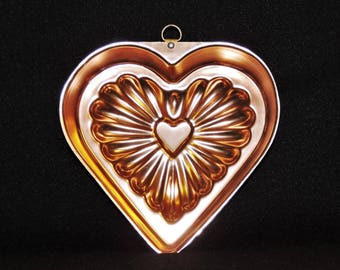 Vintage Copper Heart Jello Mold