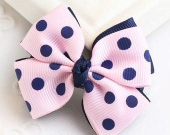 Cute Kid Pink and Blue Doted Bow Knot Hair Clip