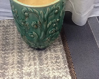 Vintage Green Stoneware Vase