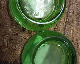 Vintage Vaseline Glass Furniture Coasters