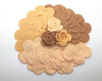 15 pcs Wool Felt Rose Flower, DIY Felt Flower, Die Cut Felt Flower,  Felt Flowers.