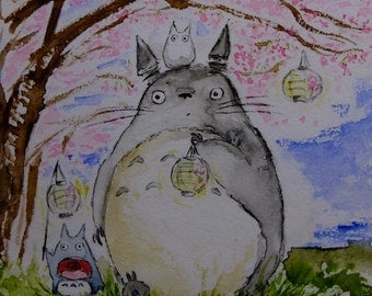 Totoro Sakura Hanami 3 under the cherry blossoms, original watercolor print