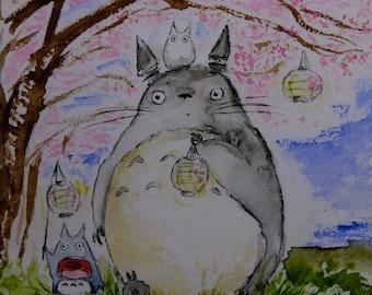 Totoro Sakura Hanami 3 under cherry blossoms, original watercolor print