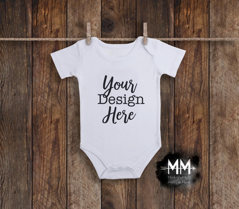 White Baby Bodysuit Mockup Blank Bodysuit Display Apparel