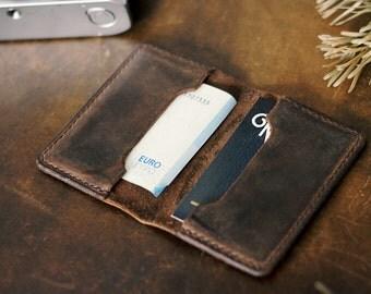 Handcrafted leather card case wallet purse minimalist slender dark brown handmade vintage business cards