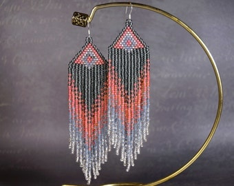 Beautiful long earrings, Seed bead earrings, Beaded earrings, long earrings