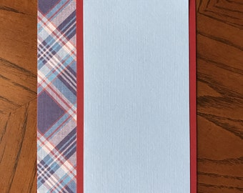 CARDS for CANCER • The Emory - light blue and crimson plaid notecards