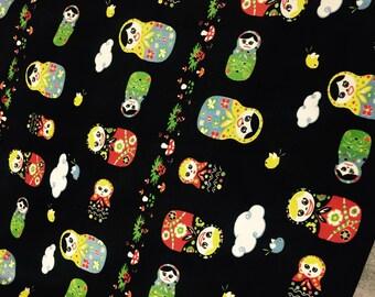 Matryoshka Dolls on Black Print Eco PUL (PolyUrethane Laminate) Fabric - Waterproof - Environmentally Friendly - 1/2 Yard