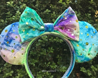 Velvet Tie Dye Mouse Ears; Blue, Neon Green & Purple Tie Dye Mouse Ears