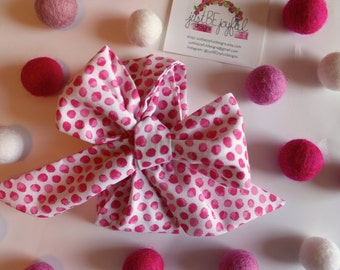 Skinny White & Pink Headwrap - Headband - Turban - Topknot Headband - Bow Headband - Big Bow Headwrap - Baby headwrap