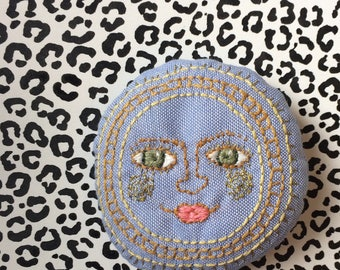 Madame sunshine hand embroidered, textile brooch, pin badge, blue and gold - jewellery