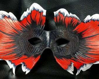 Leather Siamese Fighting Fish Mask, Customizable - Made to Order