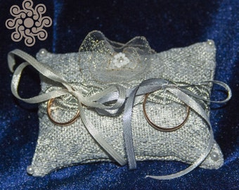 Silver gray ring-bearer pillow with satin ribbons and beadwork