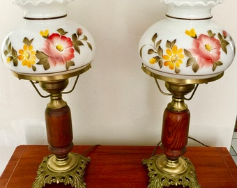 Vintage Floral  and White Hurricane Lamp with Hand painted  Flowers L & L WMC 1973 Gone With The Wind