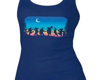 Grateful Dead Women's Tank Top - Moondance Tank top- Dancing Bears and Terrapin Turtles in the Moonlight