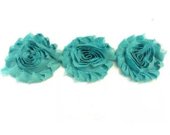 "Jade Gorgeous Shabby Frayed Chiffon Flower Rosettes 3 x 2.5"", hair bands, clips, crafts etc"