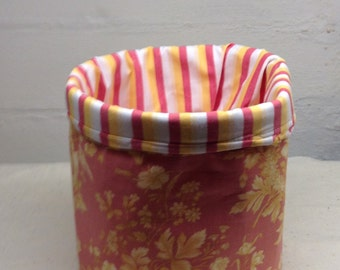 Fabric Bucket, storage, stripes and floral patterned bucket,