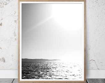 Black and White wall art, modern wall art, minimalist wall art, contemporary prints, black and white prints, ocean printable, ocean wall art