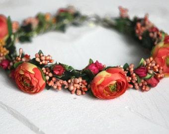 bohemian flower wreath bridesmaid gift  floral crown boho wedding wreath  Flower headband tiara for girl wedding flower crown bride gift