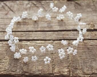 Bridal hair vine for long hair wedding crystal wreath crystal twigs bridal headband wedding pearl vine crystal garland headpiece baby breath