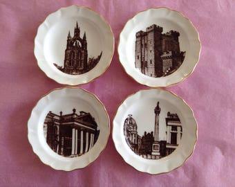 Set of 4  Landmark minature plates by Benchmark of Newcastle Upon Tyne.
