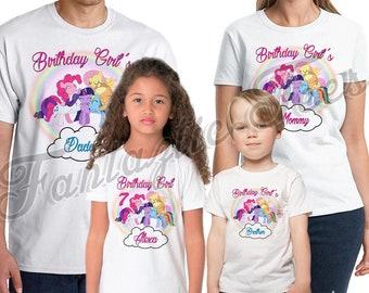 My Little Pony  Birthday Shirt Add Name & Age My Little Pony Custom Birthday Party TShirt PJ01