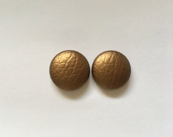 20mm Bronze Leatherette Studs • Faux Leather • Stud Earrings • Surgical Steel