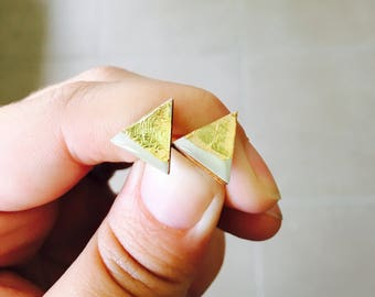 12mm White and Gold Foil Resin/Bamboo Triangle Studs • Earrings • Surgical Steel • Glossy
