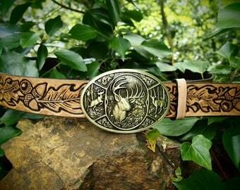 oak leaves leather belt, leather carved belt, oak belt