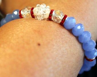Cute blue-beaded shamballa bracelet; handmade, beadweaving, Crystal & glass beaded, cute, elegant, white/clear, blue, red
