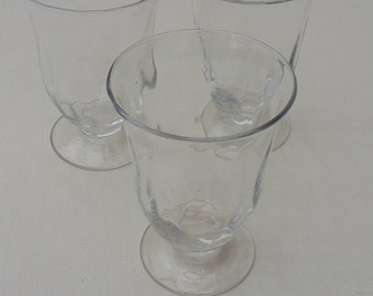 Three Victorian Small Rummer Glasses Vintage Glass Wine Goblets