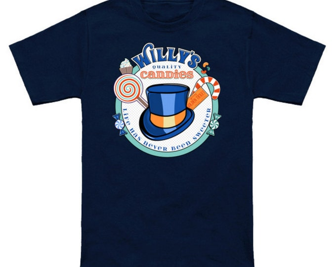 WILLY'S QUALITY CANDIES Willy Wonka T-Shirt Charlie And The Chocolate Factory Golden Ticket Roald Dahl Pop Culture Funny Geek/Nerd Shirt