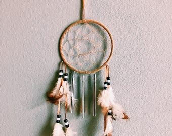 Vintage Boho Dream Catcher w/ Feather + Bead Accents