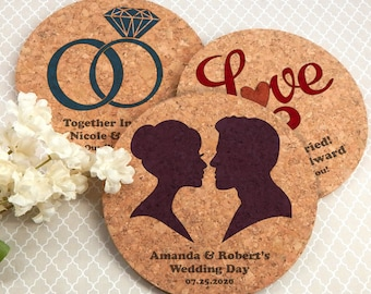 Wedding Favor Coasters, Personalized Round Wedding Cork Coasters - Set of 4