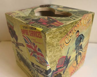 Square Tissue box cover, Decoupage box wooden, tissue dispenser, bedroom decor, vintage,car,air plane,boy gifts,gift for him
