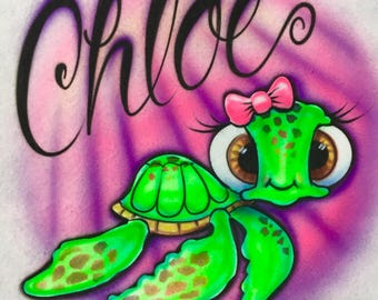 Airbrush Sea Turtle, Airbrush Cute Girl Turtle, Cute Loggerhead Turtle