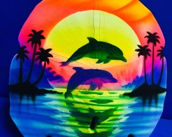 Airbrush Sand Dollar Couple, Airbrush Sea Shell, Painted Sand Dollar, Jumping Dolphins