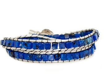 Lapis Lazuli Square Beads on Silver Leather - Double Wrap
