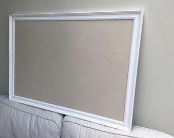 Giant white pin board. White notice board. Fabric noticeboard. White bulletin board. Fabric memo board. Fabric message board Linen pin board