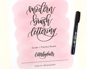 Modern Brush Lettering | Modern Calligraphy | Hand Lettering | Digital Download | Practice Sheets + Guide for Beginners