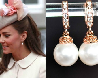 Your Choice of Findings & Pearl Colour -- Handmade Celebrity Inspired CZ and Pearl Rose Gold Earrings, Bridal, Wedding (Pearl-730)