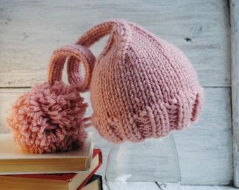 Newborn knit hat, newborn elf hat, baby girl hat, newborn knit elf hat, newborn girl, newborn photo prop