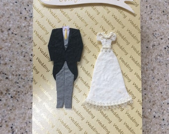 Handmade Happy Wedding Day congratulations Card Bride & Groom outfits unusual A6 mulberry paper wedding outfits