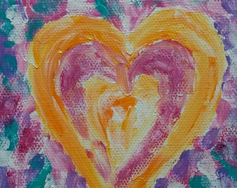Gift Heart in Orange and Pink, Abstract Painting, Original, Acrylic Modern Art, Acrylic Painting, Canvas Art, Wall Art, Home Decor