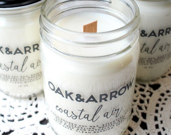 COASTAL AIR//Soy Wax Wood Wick Candle//Hand Poured Soy Candle//10oz