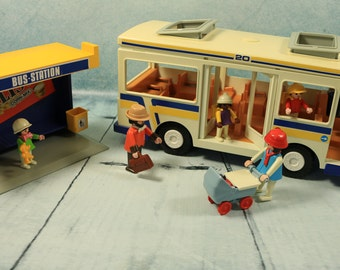 RARE BOXED Vintage Playmobil Geobra City Bus Stop set 3782 COMPLETE 1988